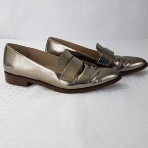 J Crew Metallic Penny Loafers Gold Leather Size 6